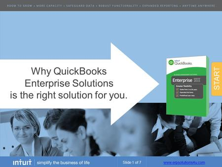 Www.erpsolutions4u.com Why QuickBooks Enterprise Solutions is the right solution for you. START Slide 1 of 7.