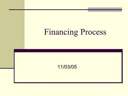 Financing Process 11/03/05. Financing Internal Financing – funds raised from cash flows of existing assets External Financing – funds raised from outside.