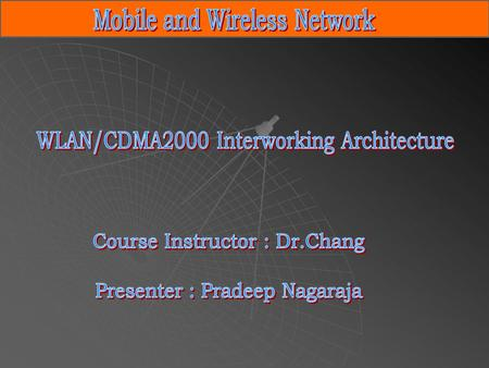Brief Outline IntroductionWLAN/CDMA2000 CDMA2000 Architecture WLAN Architecture Architectural Choices Tightly-coupled interworking Loosely- coupled interworking.
