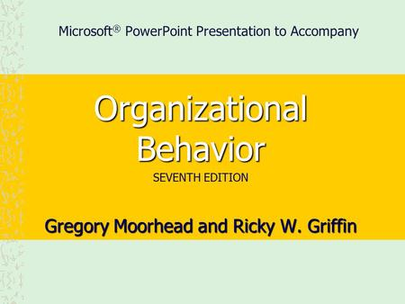 Microsoft® PowerPoint Presentation to Accompany