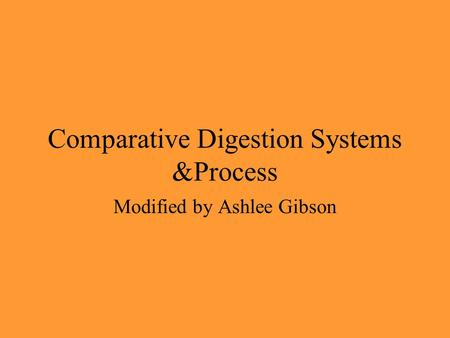 Comparative Digestion Systems &Process Modified by Ashlee Gibson.