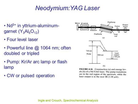 Neodymium:YAG Laser Ingle and Crouch, Spectrochemical Analysis Nd 3+ in yttrium-aluminum- garnet (Y 3 Al 5 O 12 ) Nd 3+ in yttrium-aluminum- garnet (Y.