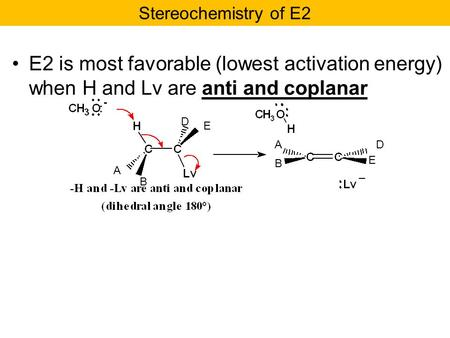 E2 is most favorable (lowest activation energy) when H and Lv are anti and coplanar Stereochemistry of E2 A B D E E DA B.