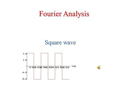 Square wave Fourier Analysis + + = Adding sines with multiple frequencies we can reproduce ANY shape.