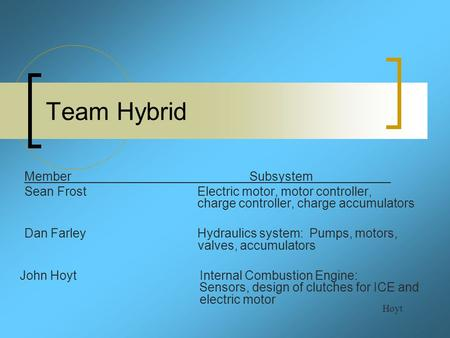Team Hybrid Hoyt MemberSubsystem Sean Frost Electric motor, motor controller, charge controller, charge accumulators Dan Farley Hydraulics system: Pumps,