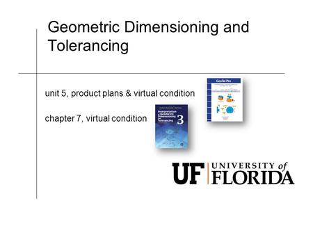 Geometric Dimensioning and Tolerancing unit 5, product plans & virtual condition chapter 7, virtual condition.