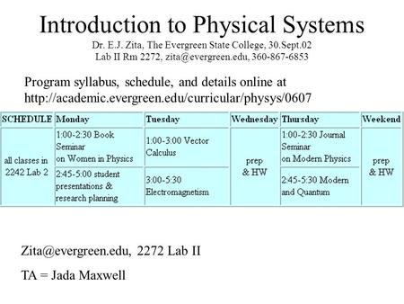 Introduction to Physical Systems Dr. E.J. Zita, The Evergreen State College, 30.Sept.02 Lab II Rm 2272, 360-867-6853 Program syllabus,