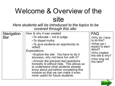 Welcome & Overview of the site Here students will be introduced to the topics to be covered through this site: How & why it was created –To educate – not.