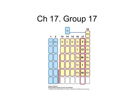 Ch 17. Group 17. 2 Prepn of elements F 2 colorless gas Mineral source of F is CaF 2 or Na 3 AlF 6 (cryolite) 2 HF  H 2 + F 2 E  = -2.87 V (Moisson,