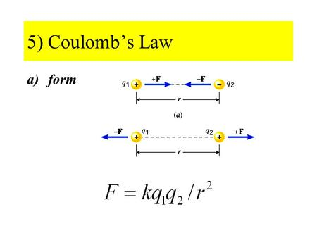 "5) Coulomb's Law a)form. b) Units Two possibilities: - define k and derive q (esu) - define q and derive k (SI) √ ""Define"" coulomb (C) as the quantity."