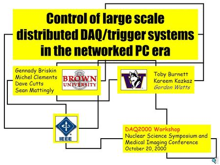 Control of large scale distributed DAQ/trigger systems in the networked PC era Toby Burnett Kareem Kazkaz Gordon Watts DAQ2000 Workshop Nuclear Science.
