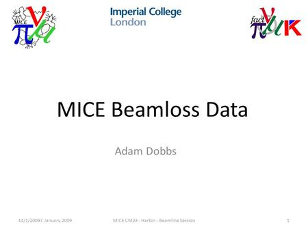 14/1/20097 January 2009MICE CM23 - Harbin - Beamline Session1 MICE Beamloss Data Adam Dobbs.