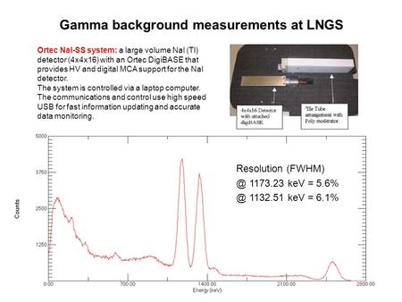 Resolution 1173.23 keV = 1132.51 keV = 6.1% Gamma background measurements at LNGS Ortec NaI-SS system: a large volume NaI (Tl) detector.