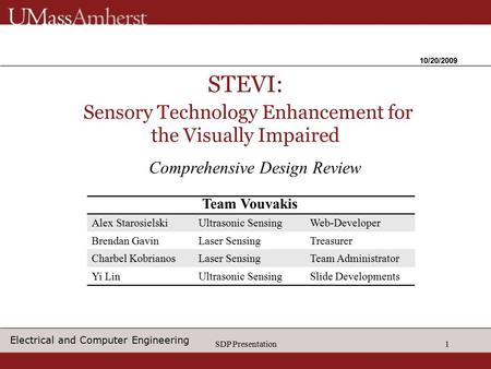 SDP Presentation1 STEVI: Sensory Technology Enhancement for the Visually Impaired 10/20/2009 Comprehensive Design Review Alex StarosielskiUltrasonic SensingWeb-Developer.