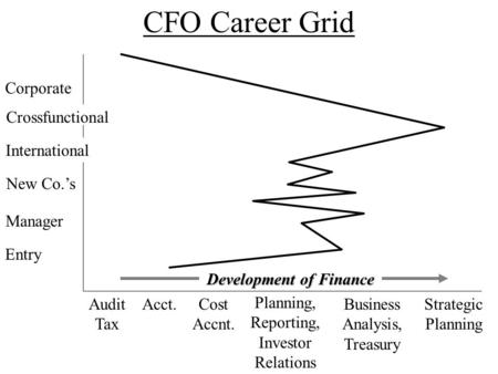 CFO Career Grid Corporate Cost Accnt. Planning, Reporting, Investor Relations Business Analysis, Treasury Strategic Planning Acct.Audit Tax Entry Manager.