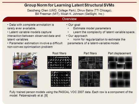 Group Norm for Learning Latent Structural SVMs Overview Daozheng Chen (UMD, College Park), Dhruv Batra (TTI Chicago), Bill Freeman (MIT), Micah K. Johnson.