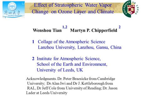 Effect of Stratospheric Water Vapor Change on Ozone Layer and Climate Wenshou Tian Martyn P. Chipperfield 1 Collage of the Atmospheric Science Lanzhou.