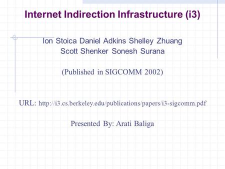 Internet Indirection Infrastructure (i3) Ion Stoica Daniel Adkins Shelley Zhuang Scott Shenker Sonesh Surana (Published in SIGCOMM 2002) URL: