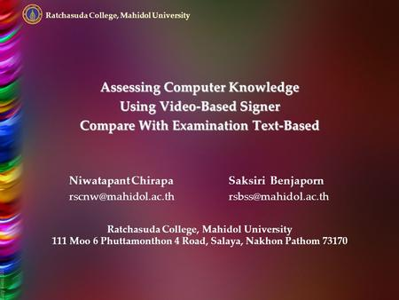 Assessing Computer Knowledge Using Video-Based Signer Compare With Examination Text-Based Niwatapant ChirapaSaksiri Benjaporn