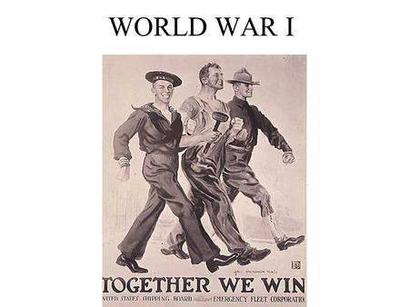 WORLD WAR I. Woodrow Wilson President of the U.S. U.S. should be honest, unselfish, and promote democracy Opposed imperialism Lead by moral example.
