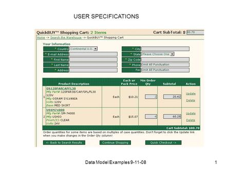 Data Model Examples 9-11-081 USER SPECIFICATIONS.