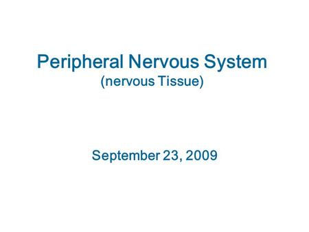 Peripheral Nervous System (nervous Tissue) September 23, 2009.