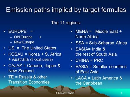 J. Frankel, Harvard1 Emission paths implied by target formulas The 11 regions: EUROPE = –Old Europe + –New Europe US = The United States KOSAU = Korea.