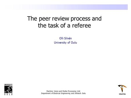 The peer review process and the task of a referee
