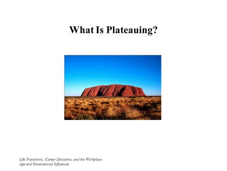 What Is Plateauing? Life Transitions, Career Decisions, and the Workplace Age and Generational Influences.