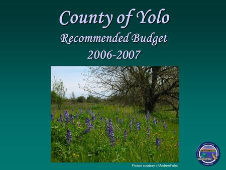 County of Yolo Recommended Budget 2006-2007 Picture courtesy of Andrew Fulks.