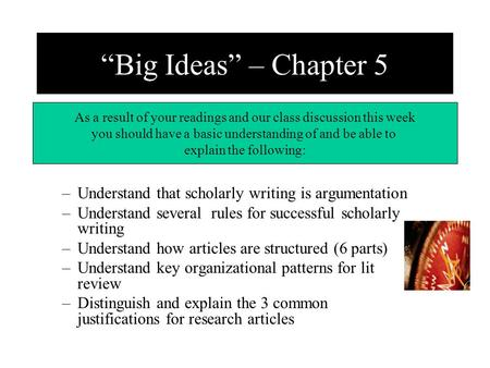 –Understand that scholarly writing is argumentation –Understand several rules for successful scholarly writing –Understand how <strong>articles</strong> are structured.