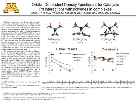 Orbital-Dependent Density Functionals for Catalysis Pd interactions with polyenes in complexes Boris B. Averkiev, Yan Zhao, and Donald G. Truhlar, University.