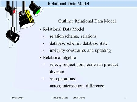 Relational Data Model Sept. 2014Yangjun Chen ACS-39021 Outline: Relational Data Model Relational Data Model -relation schema, relations -database schema,