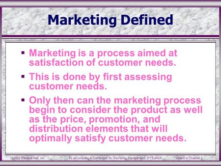©2003 Prentice Hall, Inc.To accompany A Framework for Marketing Management, 2 nd Edition Slide 0 in Chapter 1 Marketing Defined  Marketing is a process.