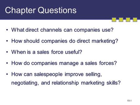 19-1 Chapter Questions What direct channels can companies use? How should companies do direct marketing? When is a sales force useful? How do companies.