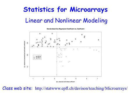 Linear and Nonlinear Modeling Class web site:  Statistics for Microarrays.