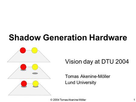© 2004 Tomas Akenine-Möller1 Shadow Generation Hardware Vision day at DTU 2004 Tomas Akenine-Möller Lund University.