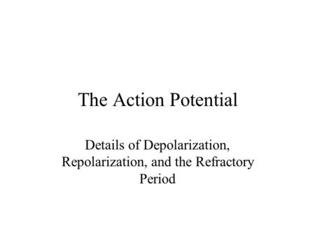 Details of Depolarization, Repolarization, and the Refractory Period