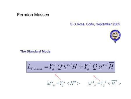 Fermion Masses G.G.Ross, Corfu, September 2005 The Standard Model.