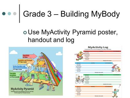 Grade 3 – Building MyBody Use MyActivity Pyramid poster, handout and log.