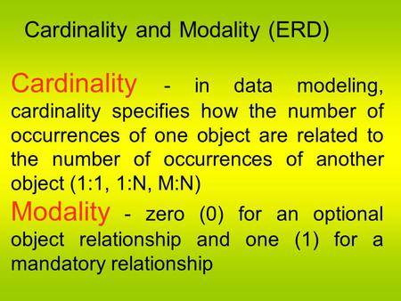 Cardinality and Modality (ERD)
