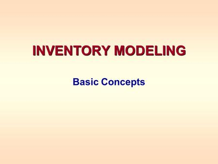 INVENTORY MODELING Basic Concepts. INVENTORY MODELING What is inventory? Items in inventory in a store Manufactured items waiting to be shipped Employees.