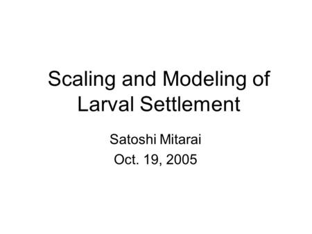 Scaling and Modeling of Larval Settlement Satoshi Mitarai Oct. 19, 2005.
