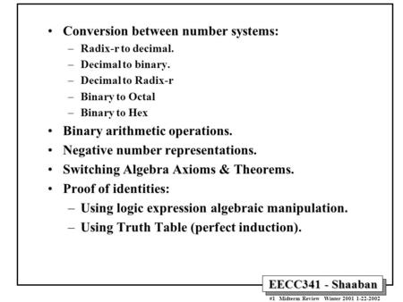 Conversion between number systems: