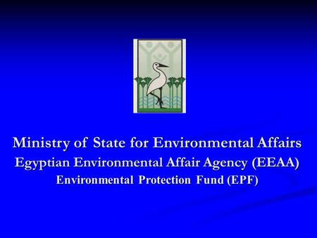 Ministry of State for Environmental Affairs Egyptian Environmental Affair Agency (EEAA) Environmental Protection Fund (EPF)