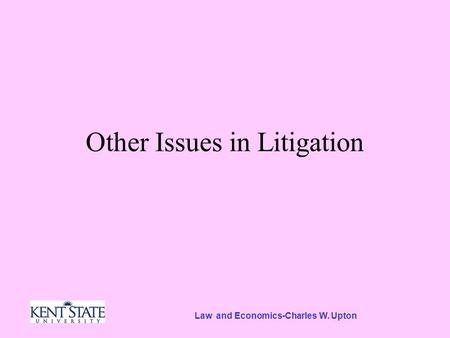 Law and Economics-Charles W. Upton Other Issues in Litigation.