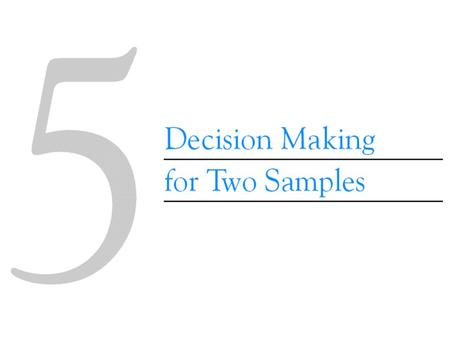 5-3 Inference on the Means of Two Populations, Variances Unknown 5-3.1 Hypothesis Testing on the Difference in Means Use the data in both samples to estimate.