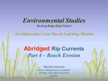 Environmental Studies Basking Ridge High School A Collaborative Case Based Learning Module Abridged Rip Currents Part 4 – Beach Erosion Martha Schoene.