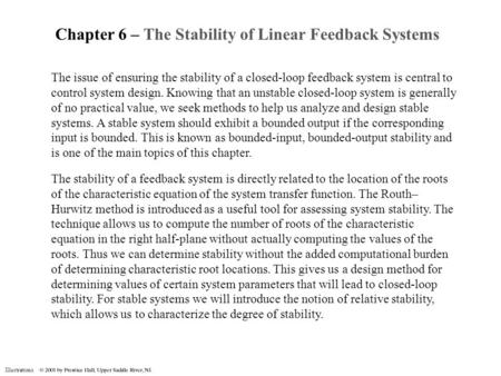 Chapter 6 – The Stability of Linear Feedback Systems