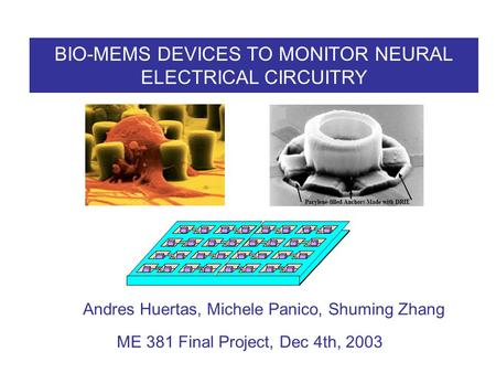 BIO-MEMS DEVICES TO MONITOR NEURAL ELECTRICAL CIRCUITRY Andres Huertas, Michele Panico, Shuming Zhang ME 381 Final Project, Dec 4th, 2003.